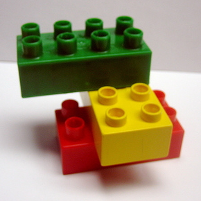 A picture of three Duplo blocks.