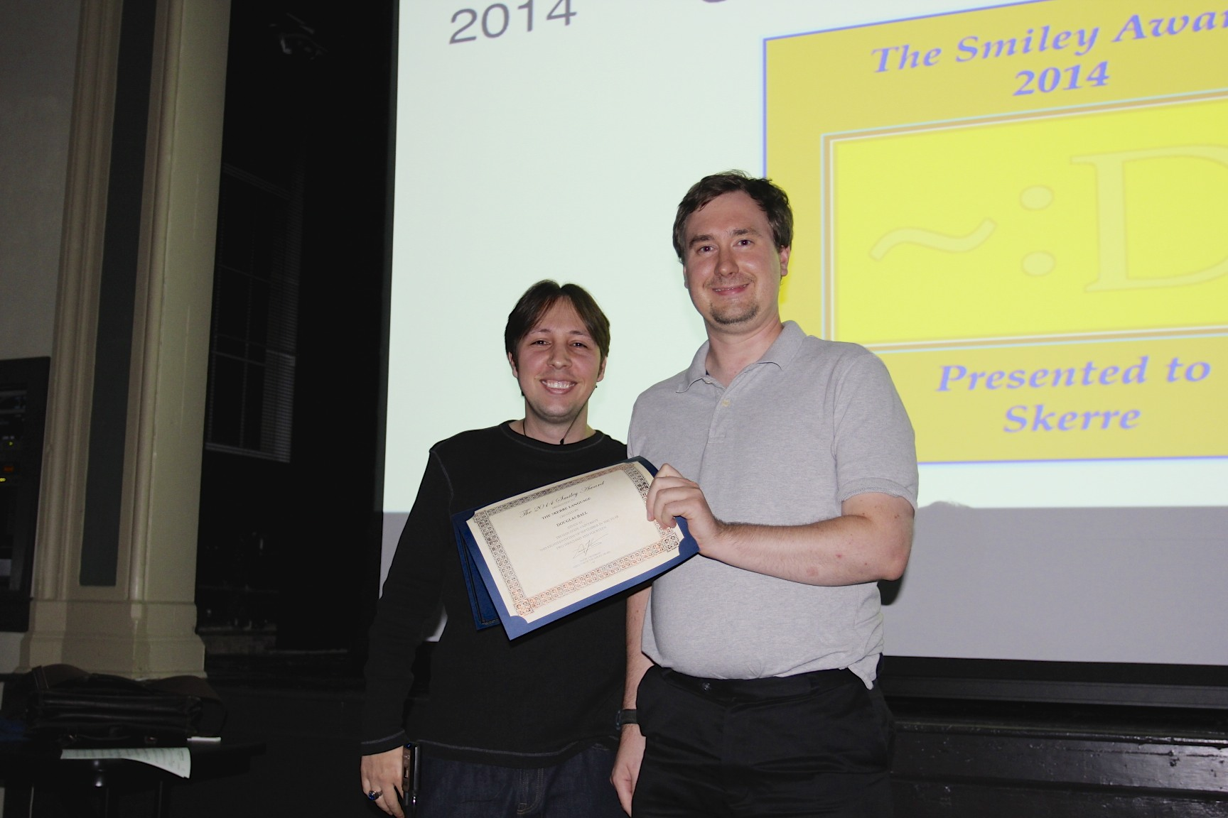 A picture of me and Doug as I presented him with the 2014 Smiley Award.